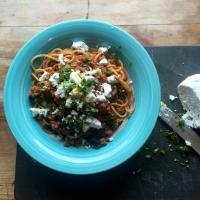 Spaghetti Quorn bolognese