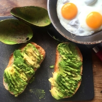 Birthday avocado & eggs on toast with sweet chilli sauce