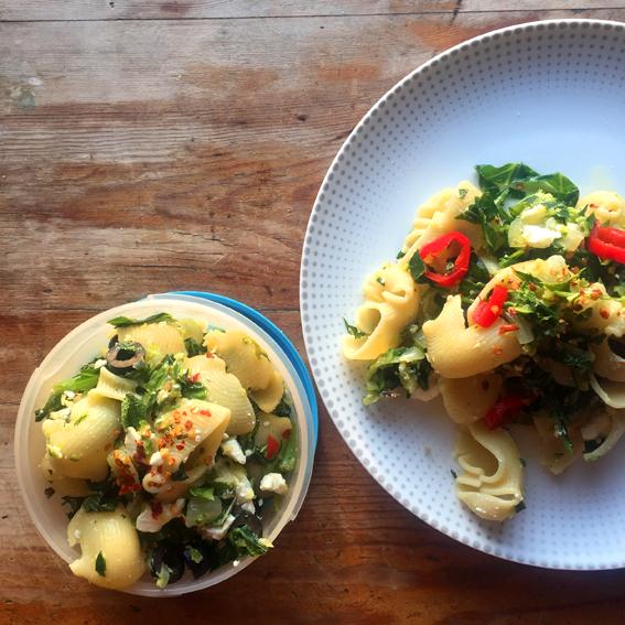 Courgette & Spring Green Lumaconi (posh pasta)