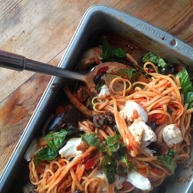 Roasted Aubergine & Tomato Linguine with Mozzarella