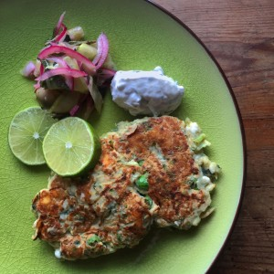 Courgette Fritters with Cucumber Pickle