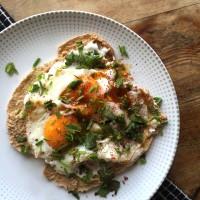 Turkish eggs on pita