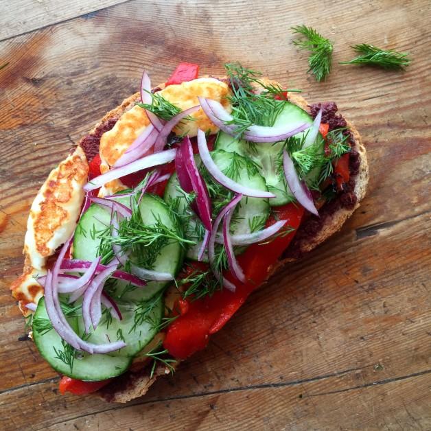 Halloumi, Tapenade & Cucumber Sandwich