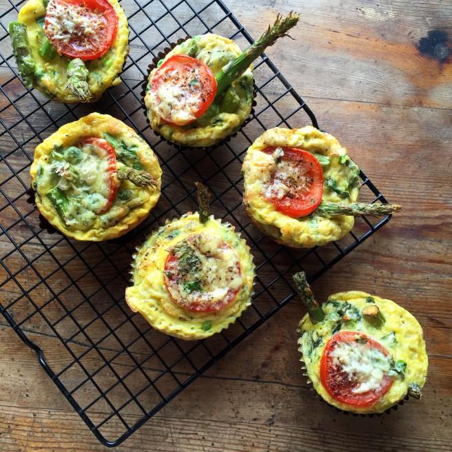 Asparagus, Pea & Mint breakfast Frittatas