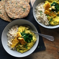 Coconut dhal with homemade flatbreads