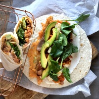 Smoky sweet potato & bean wraps