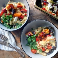 Roasted vegetable couscous with goats cheese & harissa