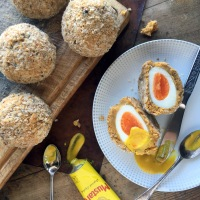 Baked chickpea scotch eggs