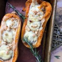 Mushroom stuffed butternut squash