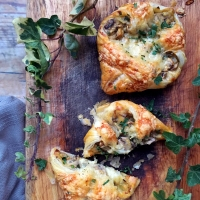 Cheese and mushroom parcels