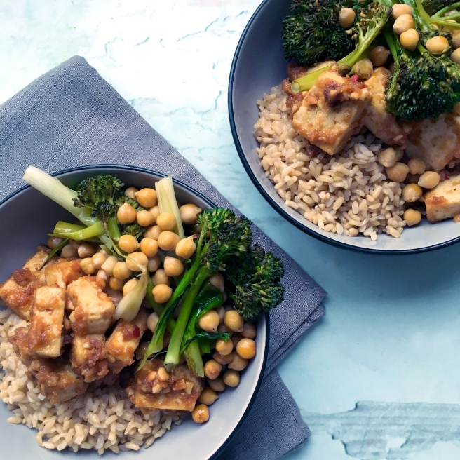 Peanut tofu with roasted greens