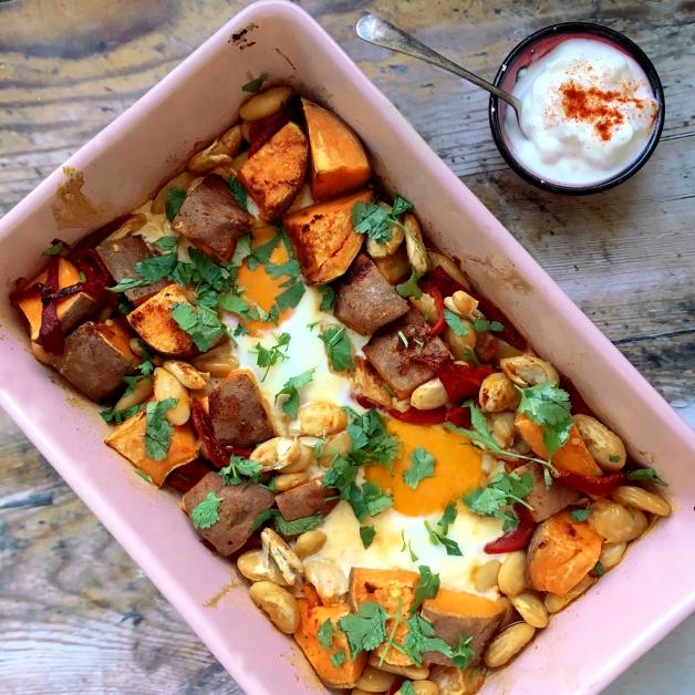 Sweet potato & butterbean traybake