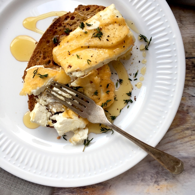 Fried feta on toast with honey & thyme