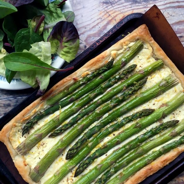 Asparagus, goats cheese & lemon tart