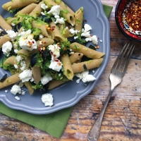 Courgette penne with fresh mint & feta