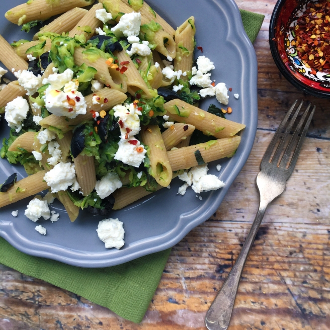 Courgette penne with feta & mint
