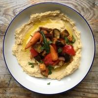 Roasted vegetable hummus bowl