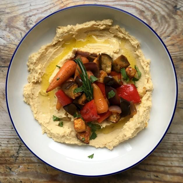 Roasted vegetable hummus bowls