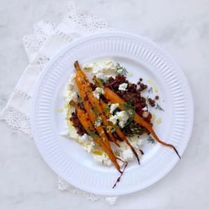 Harissa carrot & lentil salad