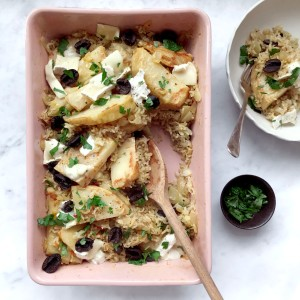 Celeriac baked rice with goats cheese