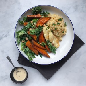 Kale, sweet potato & tahini bowl