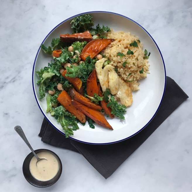 Kale, sweet potato & tahini bowl