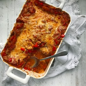 Red pepper & tomato lasagne