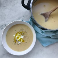 Celeriac & goats cheese soup