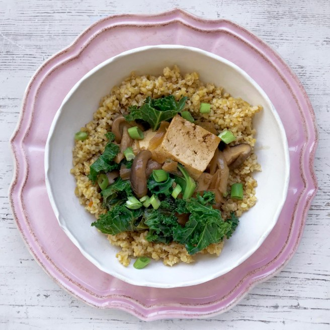 Braised tofu & kale bulgur bowl