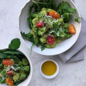 Gnocchi with pea pesto and watercress