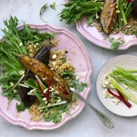 Roasted miso aubergine salad